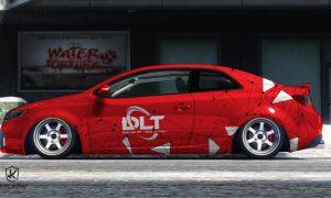 Mẫu thiết kế tem sườn xe Forte Koup màu đỏ